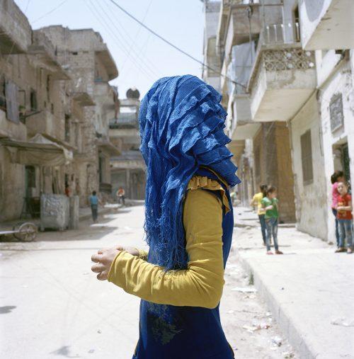 Girl in blue hijab, Khaldiyeh, Aleppo 2017