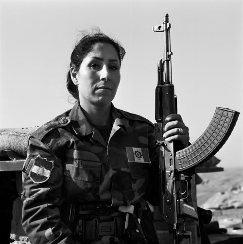 Miryam Kirmashani, 27 years old and mother of 2 children, in position on the Frontline, Northwest Kirkuk, Iraqi Kurdistan, November 2015.