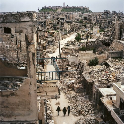 Aleppo in Ruins with Citadel on the hill, April 2017