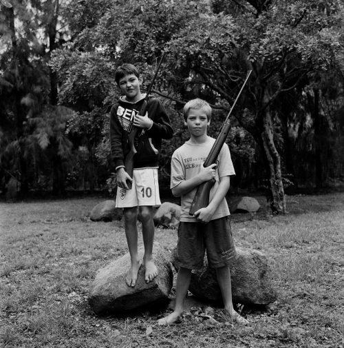Boys with Pellet Guns, Ledbury Farm, Mazowe